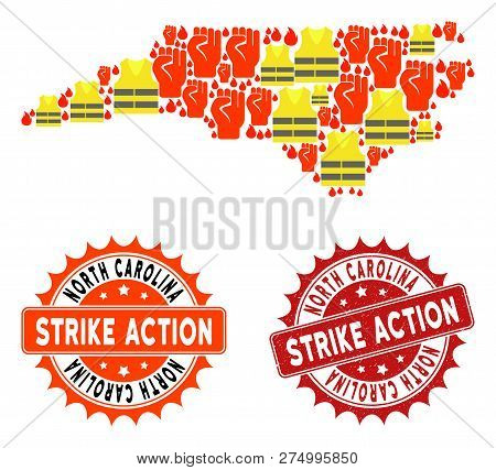 Strike Action Collage Of Revolting Map Of North Carolina State, Grunge And Clean Seals. Map Of North
