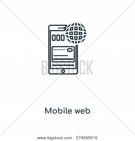 Mobile Web Icon In Trendy Design Style. Mobile Web Icon Isolated On White Background. Mobile Web Vec