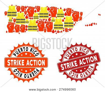 Strike Action Collage Of Revolting Map Of Puerto Rico, Grunge And Clean Seal Stamps. Map Of Puerto R