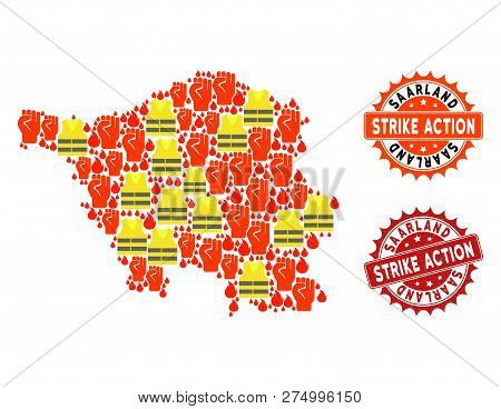 Strike Action Collage Of Revolting Map Of Saarland State, Grunge And Clean Seal Stamps. Map Of Saarl