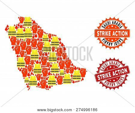 Strike Action Collage Of Revolting Map Of Saudi Arabia, Grunge And Clean Seal Stamps. Map Of Saudi A