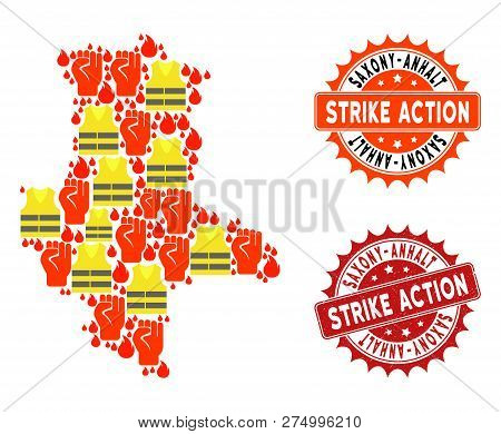 Strike Action Collage Of Revolting Map Of Saxony-anhalt State, Grunge And Clean Seal Stamps. Map Of