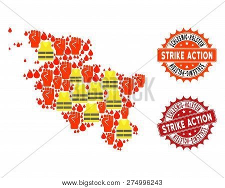 Strike Action Collage Of Revolting Map Of Schleswig-holstein State, Grunge And Clean Seals. Map Of S