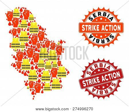 Strike Action Collage Of Revolting Map Of Serbia, Grunge And Clean Seal Stamps. Map Of Serbia Collag