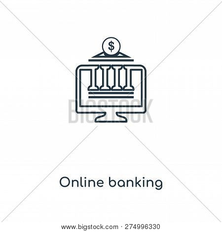 Online Banking Icon In Trendy Design Style. Online Banking Icon Isolated On White Background. Online
