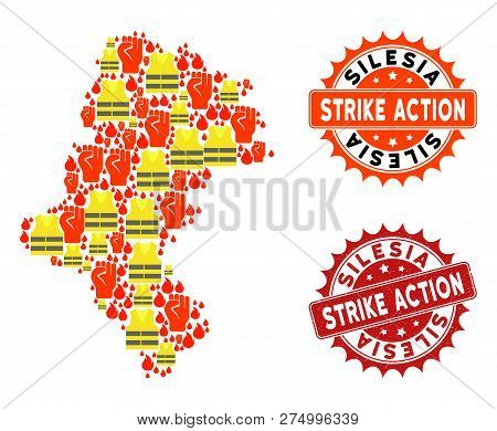 Strike Action Combination Of Revolting Map Of Silesia Voivodeship, Grunge And Clean Seal Stamps. Map