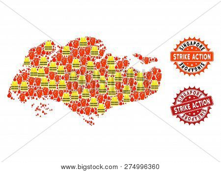 Strike Action Collage Of Revolting Map Of Singapore, Grunge And Clean Seal Stamps. Map Of Singapore