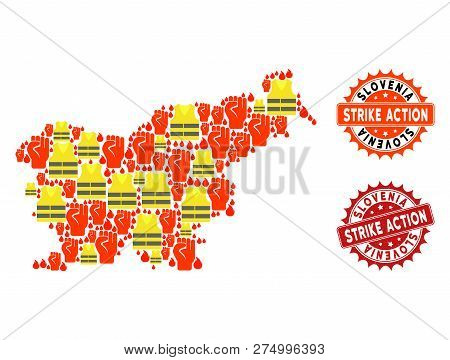 Strike Action Collage Of Revolting Map Of Slovenia, Grunge And Clean Stamps. Map Of Slovenia Collage