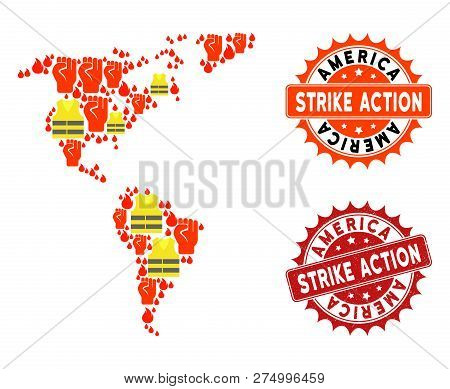 Strike Action Composition Of Revolting Map Of South And North America, Grunge And Clean Seal Stamps.
