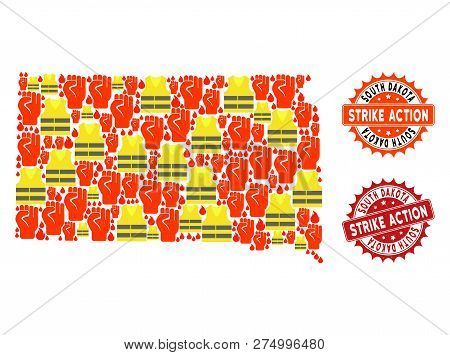 Strike Action Collage Of Revolting Map Of South Dakota State, Grunge And Clean Seal Stamps. Map Of S
