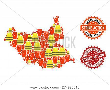 Strike Action Combination Of Revolting Map Of South Sudan, Grunge And Clean Stamps. Map Of South Sud