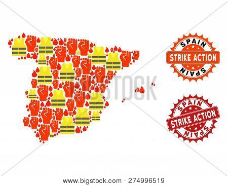 Strike Action Collage Of Revolting Map Of Spain, Grunge And Clean Seals. Map Of Spain Collage Compos