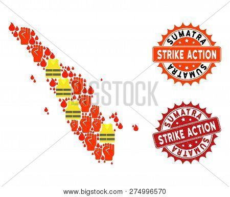 Strike Action Collage Of Revolting Map Of Sumatra Island, Grunge And Clean Seal Stamps. Map Of Sumat