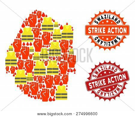 Strike Action Collage Of Revolting Map Of Swaziland, Grunge And Clean Seal Stamps. Map Of Swaziland