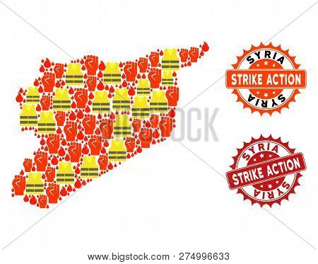 Strike Action Composition Of Revolting Map Of Syria, Grunge And Clean Seal Stamps. Map Of Syria Coll