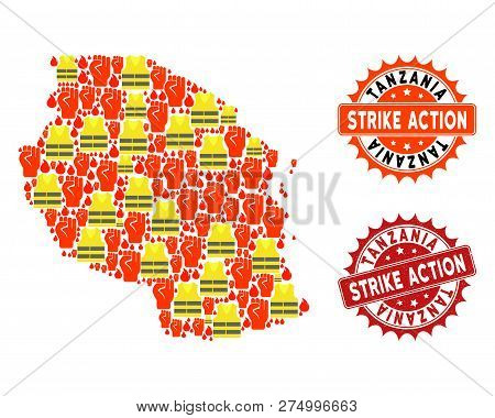 Strike Action Collage Of Revolting Map Of Tanzania, Grunge And Clean Seal Stamps. Map Of Tanzania Co