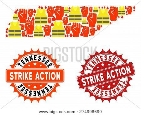 Strike Action Collage Of Revolting Map Of Tennessee State, Grunge And Clean Seal Stamps. Map Of Tenn