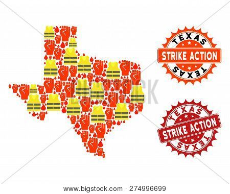 Strike Action Collage Of Revolting Map Of Texas State, Grunge And Clean Seals. Map Of Texas State Co