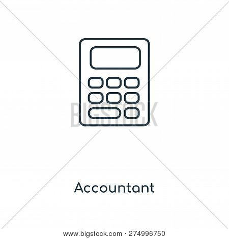 Accountant Icon In Trendy Design Style. Accountant Icon Isolated On White Background. Accountant Vec