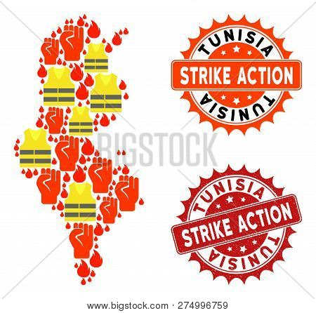 Strike Action Collage Of Revolting Map Of Tunisia, Grunge And Clean Seals. Map Of Tunisia Collage Fo