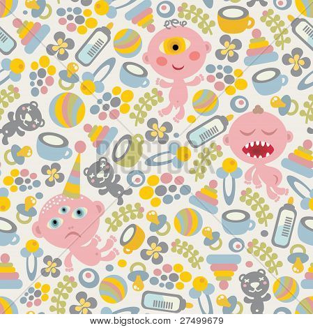 Baby monsters seamless background.