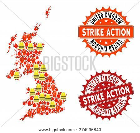 Strike Action Collage Of Revolting Map Of United Kingdom, Grunge And Clean Seals. Map Of United King