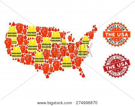 Strike Action Collage Of Revolting Map Of Usa, Grunge And Clean Seals. Map Of Usa Collage Composed F