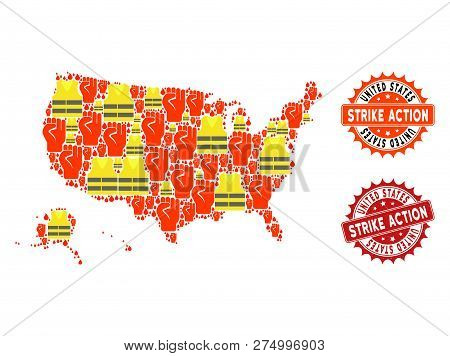 Strike Action Collage Of Revolting Map Of Usa Territories, Grunge And Clean Seal Stamps. Map Of Usa
