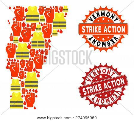 Strike Action Collage Of Revolting Map Of Vermont State, Grunge And Clean Seals. Map Of Vermont Stat