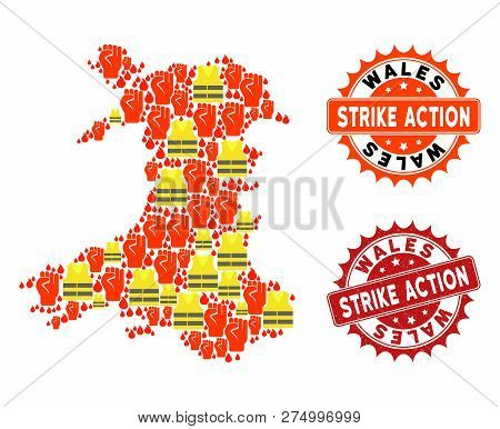 Strike Action Collage Of Revolting Map Of Wales, Grunge And Clean Stamps. Map Of Wales Collage Compo