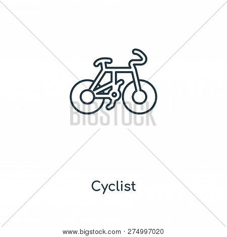 Cyclist Icon In Trendy Design Style. Cyclist Icon Isolated On White Background. Cyclist Vector Icon