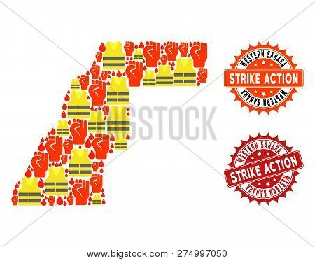 Strike Action Combination Of Revolting Map Of Western Sahara, Grunge And Clean Seal Stamps. Map Of W