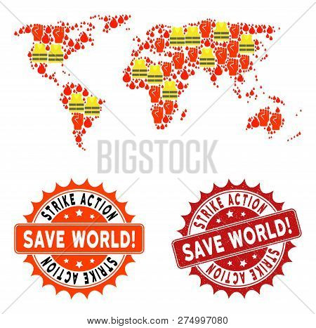 Strike Action Collage Of Revolting Map Of World, Grunge And Clean Seal Stamps. Map Of World Collage