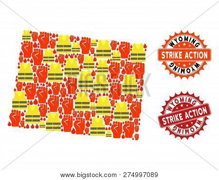 Strike Action Collage Of Revolting Map Of Wyoming State, Grunge And Clean Stamps. Map Of Wyoming Sta