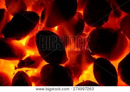 Burning Glowing  Coal Fire Close Up Background