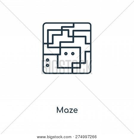 Maze Icon In Trendy Design Style. Maze Icon Isolated On White Background. Maze Vector Icon Simple An