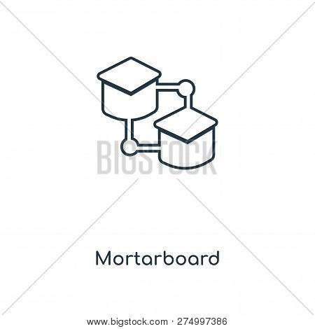 Mortarboard Icon In Trendy Design Style. Mortarboard Icon Isolated On White Background. Mortarboard