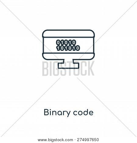 Binary Code Icon In Trendy Design Style. Binary Code Icon Isolated On White Background. Binary Code
