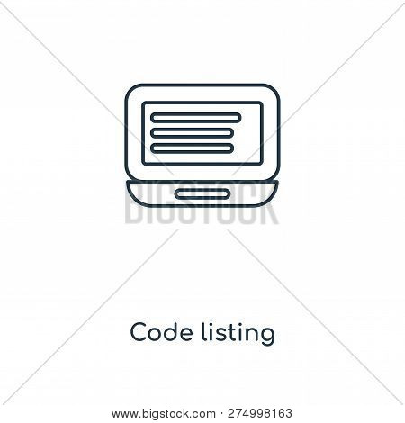 Code Listing Icon In Trendy Design Style. Code Listing Icon Isolated On White Background. Code Listi