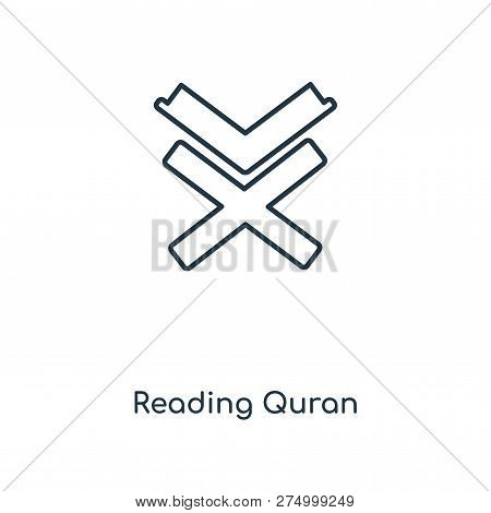 Reading Quran Icon In Trendy Design Style. Reading Quran Icon Isolated On White Background. Reading