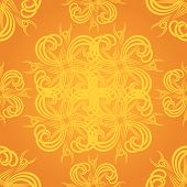 Tattoo inspired seamless background in orange and yellow poster