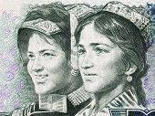 Hyger and Ye Yien youths, portrait from Chinese money poster