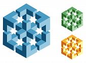 different multicolored optical illusions of unreal geometrical objects vector poster