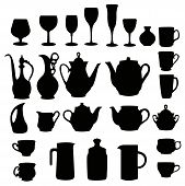 many different black on white tableware silhouette vector poster