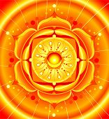 bright orange mandala of svadhisthana chakra vector poster