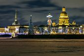 Christmas St. Petersburg. Spit of Vasilyevsky Island night view poster