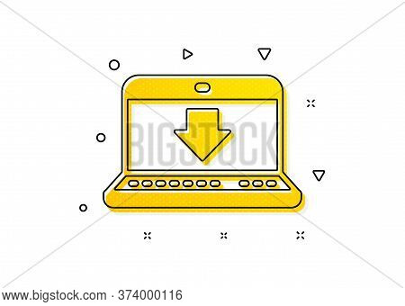 Internet Downloading With Laptop Sign. Download Icon. Load File Symbol. Yellow Circles Pattern. Clas