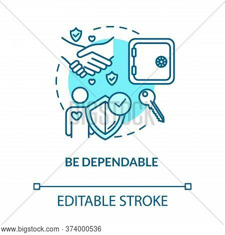 Be Dependable Concept Icon. Friendship Relationships Advices. Being Loyal And Trustworthy Friend Ide