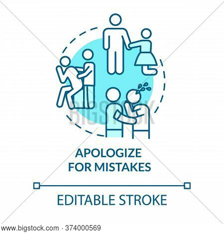 Apologize For Mistakes Concept Icon. Friendship Relationship Advice. Best Friends Conflict Resolutio