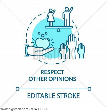 Respect Other Opinions Concept Icon. Understand And Accept Friends. Social Relationship. Being Respe